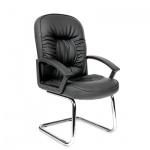 Кресло посетителя Chairman 418 V иск. кожа, черная, глянцевая с перфорацией, на полозьях