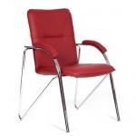 Кресло посетителя Chairman 850 иск. кожа, бордовая, terra 113, на ножках