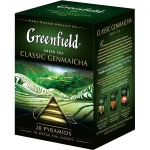 Чай Greenfield Classic Genmaicha (Классик Генмайча), зеленый, в пирамидках, 20 пакетиков