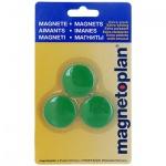 Магниты Magnetoplan Junior d=34х9мм, 3шт/уп, зеленые