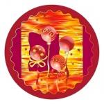 Тарелка одноразовая Buffet Шары на бордовом, d=23см, 10шт/уп
