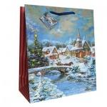 Пакет подарочный новогодний 26x32.5x12.5см, EUX/140301