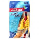 Перчатки латексные Vileda Super Grip р.M, универсальные, желтые