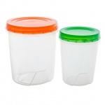 Набор контейнеров Полимербыт 1.3л+0.6л, пластик, с закручивающейся крышкой, 2шт/уп