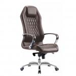 Кресло руководителя Бюрократ Aura нат. кожа, крестовина алюминий, коричневое