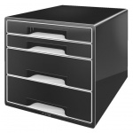 Бокс для бумаг Leitz Black & White 287x270x363мм, 4 ящика, черный, 52520095