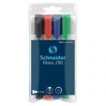 Маркер для досок и флипчартов Schneider Maxx290 набор 4 цвета, 2мм, круглый наконечник, cap off