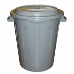 Бак для мусора М-Пластика 90л, серый, с крышкой, М 2394