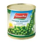 Зеленый горошек Green Ray нежный из мозговых сортов, 425г