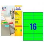 Этикетки Avery Zweckform 3454, зеленые, 105x37мм, 16шт на листе А4, 100 листов, 1600шт, для всех вид