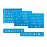 Набор трафаретов букв и цифр 5шт, размер букв:10,15,20мм, размер цифр: 15, 25мм
