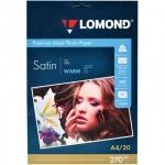 Фотобумага для струйных принтеров Lomond А4, 20 листов, 270г/м2, атласная, односторонняя, 1106200