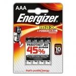 Батарейка Energizer Max AAA/LR03, 1.5В, алкалиновая, 4шт/уп