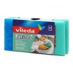 Губка для мытья посуды Vileda поролоновая без абразива, 6,5х9,5см, 2шт/уп