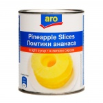 Консервированные фрукты Aro ананасы кольца в сиропе, 820г