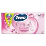 Туалетная бумага Zewa Deluxe орхидея, розовая, 3 слоя, 8 рулонов, 150 листов, 21м