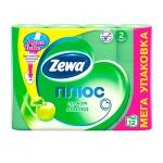 Туалетная бумага Zewa Плюс зеленое яблоко, зеленая, 2 слоя, 12 рулонов, 184 листа, 23м
