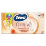 Туалетная бумага Zewa Deluxe персик, оранжевая, 3 слоя, 8 рулонов, 150 листов, 21м