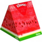 Салфетки косметические Kleenex Aroma 56шт, 20х20см, 3 слоя, белые, с ароматом арбуза