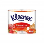 Туалетная бумага Kleenex Aroma Care клубника, белая с рисунком, 3 слоя, 4 рулона, 140 листов, 15.7 м