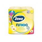 Туалетная бумага Zewa Плюс ромашка, желтая, 2 слоя, 8 рулонов, 184 листа, 23 м
