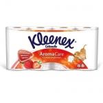 Туалетная бумага Kleenex Aroma Care клубника, белая с рисунком, 3 слоя, 140 листов, 15.7 м, 8 рулонов