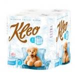 Туалетная бумага Kleo Ultra без аромата, белая, 3 слоя, 8 рулонов, 168 листов, 21м