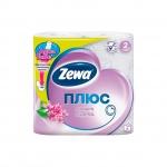 Туалетная бумага Zewa Плюс сирень, белая, 2 слоя, 4 рулона, 184 листа, 23 м