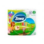 Туалетная бумага Zewa Kids без аромата, белая с рисунками, 3 слоя, 4 рулона, 150 листов, 20.7м