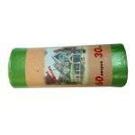 Мешки для мусора 60л, зеленые, 10мкм, 30шт/уп