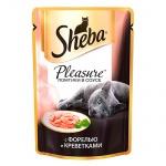 Влажный корм для кошек Sheba, 85г, форель/креветки