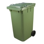 Бак для мусора на колесах 240л, зеленый, с крышкой, МКТ-240