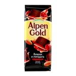 Шоколад Alpen Gold темный с вишней и миндалем, 90г