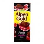Шоколад Alpen Gold темный с малиной и йогуртом, 90г
