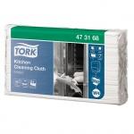 Протирочные салфетки Tork нетканые W4, 473168, листовые, для кухни, 85шт, 1 слой, белые