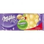 Шоколад Milka Bubbles белый с фундуком, 83г, пористый