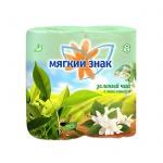 Туалетная бумага Мягкий Знак Deluxe Aroma зеленый чай, зеленая, 2 слоя, 4 рулона, 175 листов, 21.88м