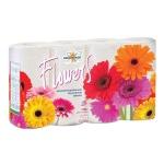 Туалетная бумага Мягкий Знак Deluxe Flowers без аромата, белая, 2 слоя, 8 рулонов, 160 листов, 20м
