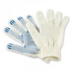 Перчатки трикотажные Noname Точка 1 пара, белые, 2 нити, с ПВХ
