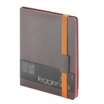 Ежедневник недатированный Bruno Visconti Leggenda серый, B5, 136 листов, искусственная кожа, оранжев