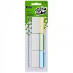 Клейкие закладки пластиковые Attache 3 цвета, 37х50мм, 3х10 листов