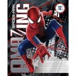 Тетрадь школьная Marvel Человек-Паук, А5, 12 листов, в линейку, на скрепке, мелованный картон