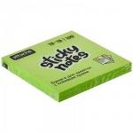 Блок для записей с клейким краем Attache зеленый, неон, 76х76мм, 100 листов