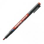 Маркер для пленок перманентный Edding 143В, 1-3мм, скошенный наконечник, для деликатных гладких поверхностей, красный