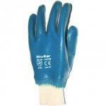 Перчатки защитные безразмерные 1 пара, белый/синий, х/б, полное нитриловое покрытие, манжет-резинка