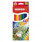 Набор акварельных карандашей Kores 12 цветов, трехгранные, с точилкой, 93812