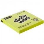 Блок для записей с клейким краем Attache желтый, неон, 76х76мм, 100 листов