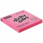 Блок для записей с клейким краем Attache розовый, неон, 76х76мм, 100 листов