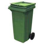 Бак для мусора на колесах 120л, зеленый, с крышкой, МКТ-120