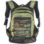 Рюкзак для мальчиков Grizzly черно-зеленый, RB-631-3
